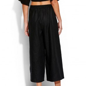 Seafolly Linen Blend Split Pant Black