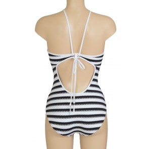Coast To Coast High Neck Maillot Black & White
